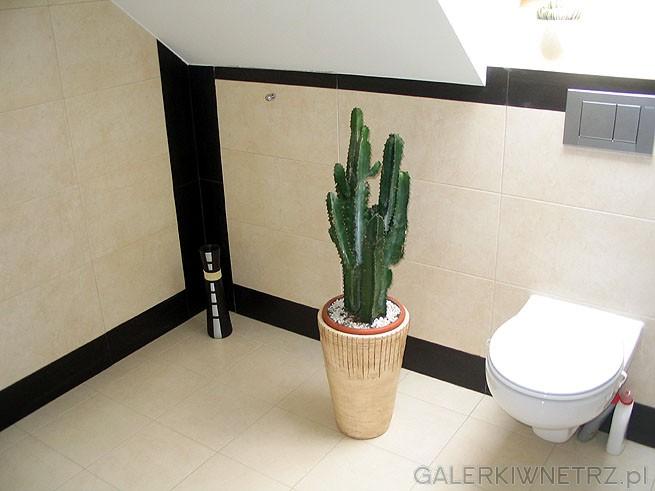 Dodatki do łazienki - np szklany ciemny flakon czy kwiaty dodają dużym płaskim ...