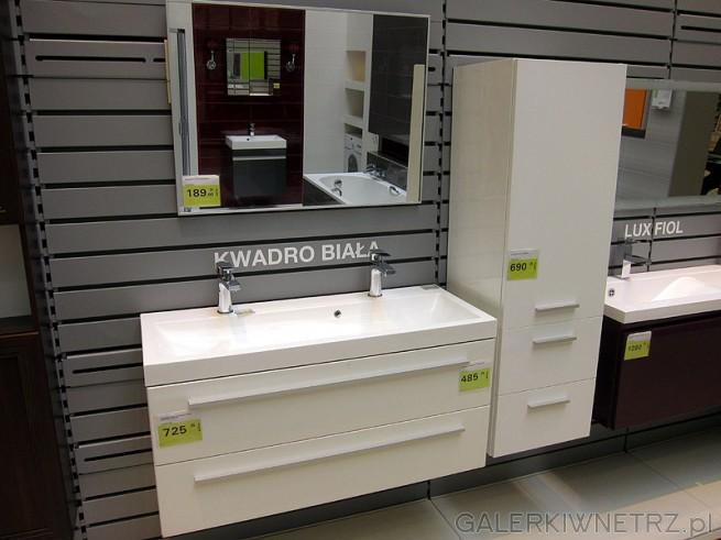 Białe i trwałe meble do łazienki. Meble skomponowane kolorystycznie z armaturą. ...