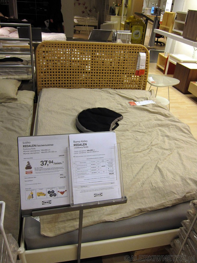 Łóżko Redalen 140cm, cena ramy 550PLN, cena materaca i dna 445PLN, suma 995PLN