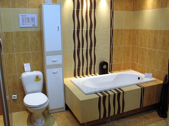 Wysoki słupek - wprawdzie praktyczny choć może niezbyt pasuje do tej łazienki. ...