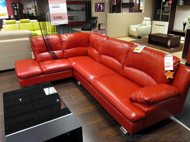 Kanapa wypoczynkowa narożnik, cena 5990PLN, model Carlos, skóra naturalna - kolor czerwony
