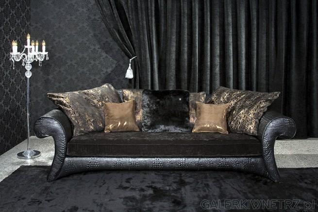 Laura - ekstrawagancka sofa, łącząca na podłokietnikach i korpusie tłoczoną ...