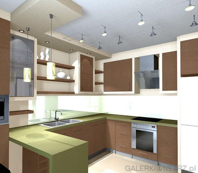 Kuchnia  - wizualizacja w innych barwach. Podwieszane oświetlenie halogenowe