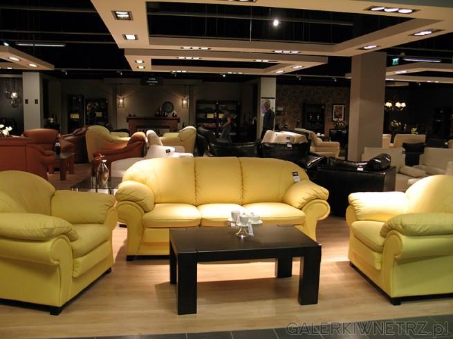 Zestaw wypoczynkowy Black Red White sofa + dwa fotele. Skórzany zestaw wypoczynkowy