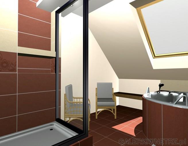 Łazienka ze skosem. Kabina prysznicowa prostokątna. Wizualizacja