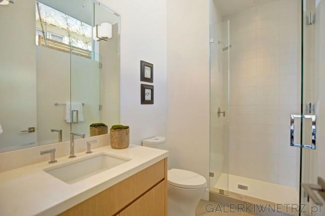 Łazienka z dużą kabinąprysznicową. Jest to projekt łazienki, w którym dominująbiele ...