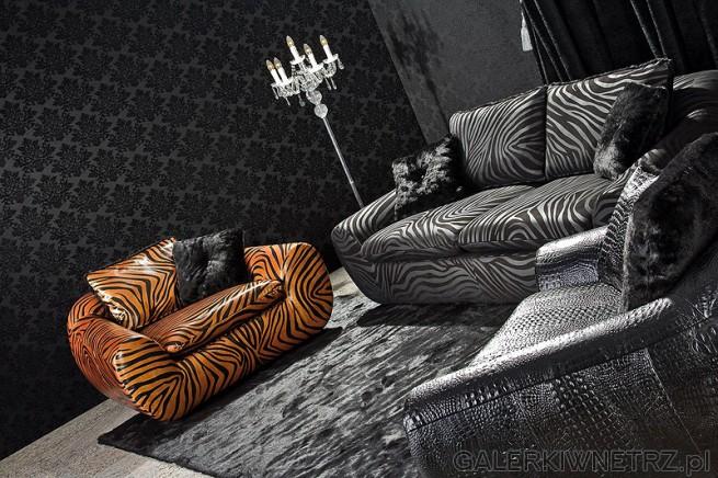 Jolly - sofa i kanapa w kolorach  zebry w dwóch odcieniach