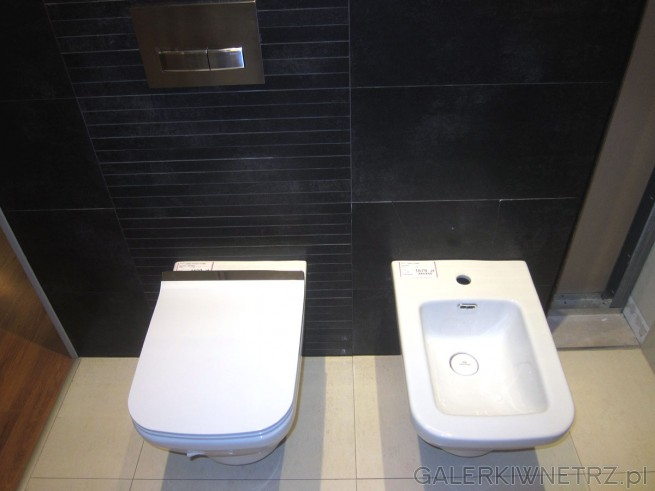 Miska WC oraz bidet w cenie 1679 złotych. Oba urządzenia mająprosty kształt, ...