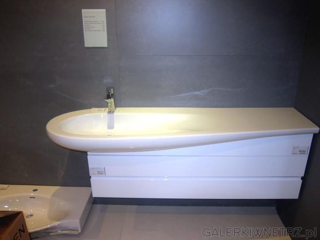 Niezwykły design białej umywalki o fantastycznym kształcie. Taka umywalka jest ...
