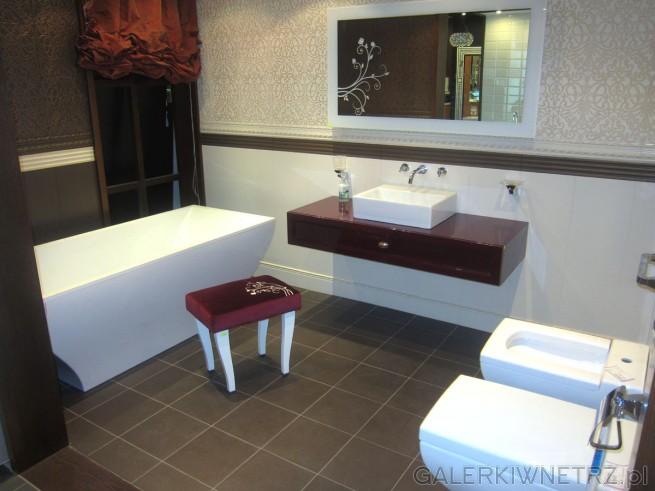 Niezwykle elegancka aranżacja łazienki. Całość utrzymana w ciepłych kolorach ...