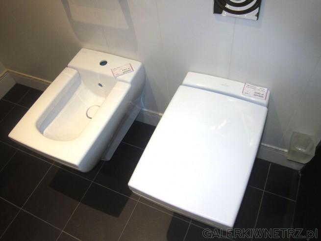 Biały bidet wiszący w cenie 3161 złotych oraz biała miska WC wisząca w cenie 3046 ...