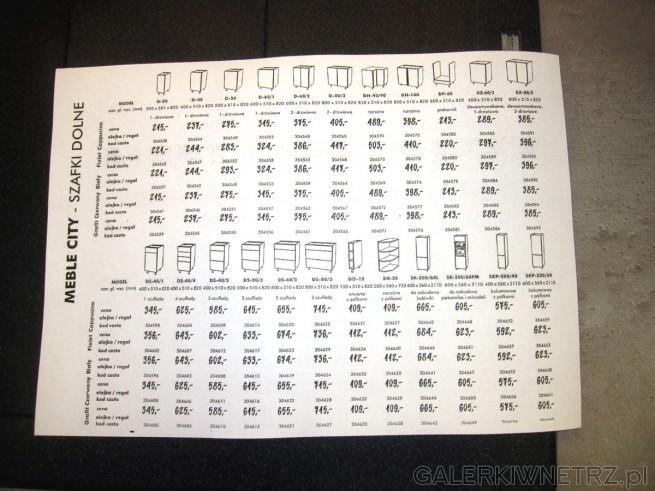 Duży wybór szafek dolnych w meblach CITY: dostępne modele szafek do D-30, D-40, ...