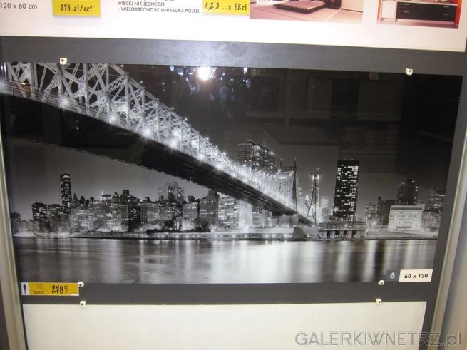 Przykład szkła laminowanego z grafiką przedstawiającą krajobraz miejski o wymiarach ...