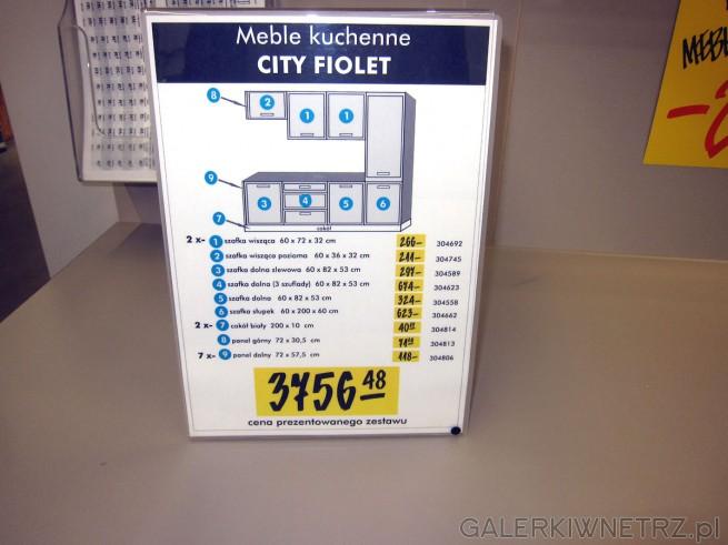 Na skład kuchni CITY FIOLET wchodzą takie elementy jak: szafka wisząca 60 x 72 x ...