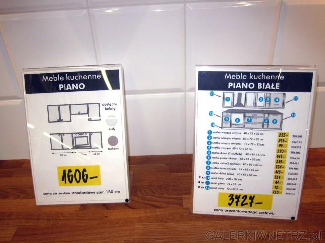 Biała kuchnia z meblami PIANO składa się z: szafki wiszącej z witryną40x72x32 cm ...