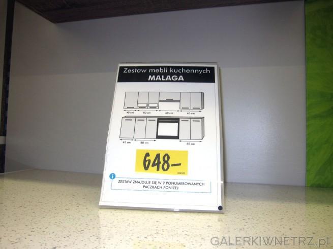 Zestaw mebli kuchennych MALAGA w bardzo niskiej cenie 648 złotych za zestaw o standardowej ...