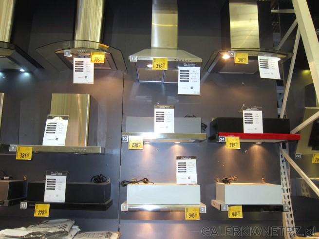 Duży wybór okapów kuchennych, o różnych kształtach, z różnych materiałów ...