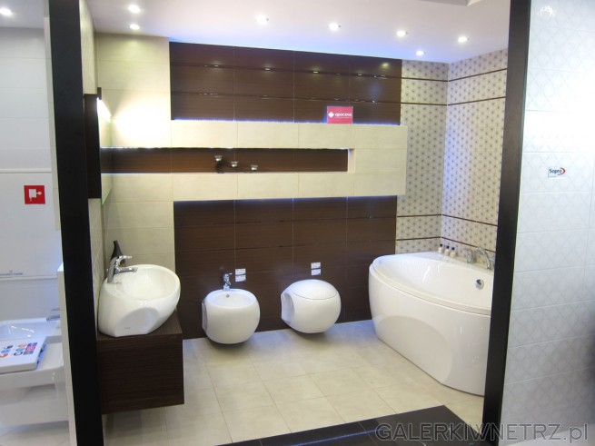 Bardzo ładna, elegancka łazienka w ciepłych kolorach. Użyte płytki opoczno ...