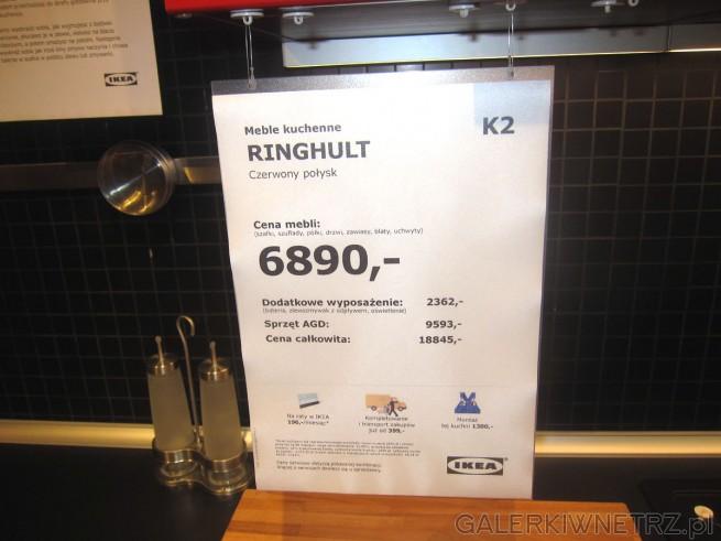 Meble kuchenne Ringhult w kolorze czerwieni z połyskiem za 6890 złotych (cena ...